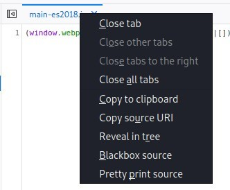 Close tab  Il (window.webg  Close other tabs  Close tabs to the right  Close all tabs  Copy to clipboard  Copy source URI  Reveal in tree  Blackbox source  Pretty print source