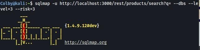 Colbyökali sqlmap -u http://localhost:3øøø/rest/products/search?q= -  dbs  -risk-3  {1.4.9.12#dev}  - I-IV...  http://sqlmap.org