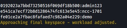 01920230bbd7325ø516fø69df18b5øø:admin123  e541coecf72b8d1286474fc613e5e45:ncc-17ø1  feø1ce2a7fbac8fafaed7c982aø4e229:demo  Approaching final keyspace - workload adjusted.
