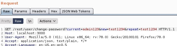 Request  Params  Pretty  Headers  Actions  ISON web Tokens  ET / rest/ user/  Host: local host 3000  User-Agent: MoziIIa/S.O (X  11; Linux x86 64; rv. 78.0) Gecko,'20100101 Firefox,'78.o  application/ j son, text/ plain,  4 Accept