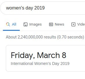 women's day 2019  Q All Images @ News @ Vide  About results (0.70 seconds)  Friday, March 8  International Women's Day 2019