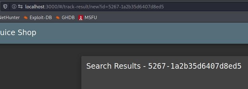 C) @ 2; localhost  letHunter •is Exploit-DB  GHDB MSFU  uice Shop  Search Results  - 5267- la2b35d6407d8ed5